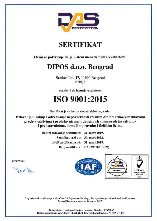 iso sertifikat, iso 9001, dipos iso, nekretnine beograd, dipos nekretnine