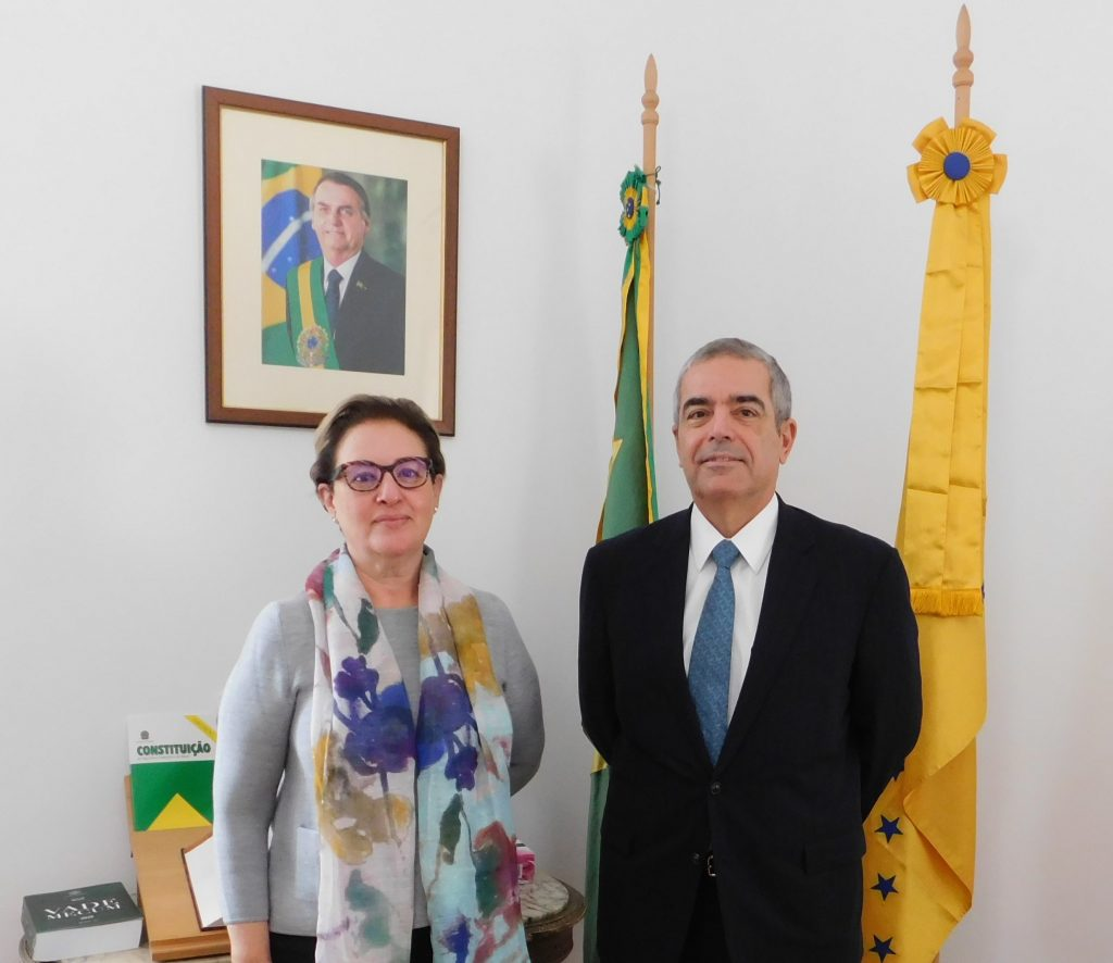 H.E. Eduardo Botelho Barbosa, Ambassador of the Federative Republic of Brazil and Minister-Counsellor Maria Cristina Pereira da Silva